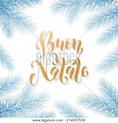 Buon Natale Italian Merry Christmas Holiday Golden Hand Drawn Calligraphy Text For Greeting Card Of