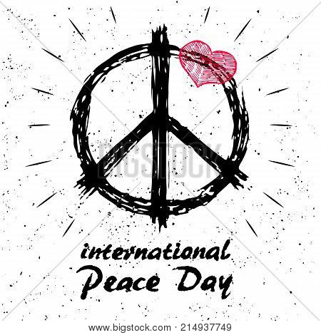 International peace day logo with hippie sign in black and white colors and red heart on top of symbol hand drawn vector illustration with text