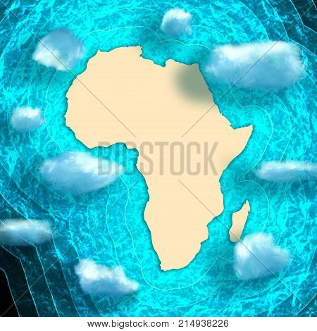 Blue and bright turquoise sea, yellow sand continent. Floating clouds. Africa simple map illustration.