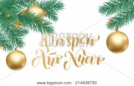 Prospero Ano Nuevo Spanish Happy New Year Golden Calligraphy Hand Drawn Text On White Snow And Decor