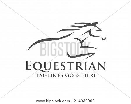 Horse Racing Logo Template Vector Racer Or Rearing Mustang And Running Stallion Head For Equine Sport Races Or Rides And Equestrian Contest Poster Id 214939000