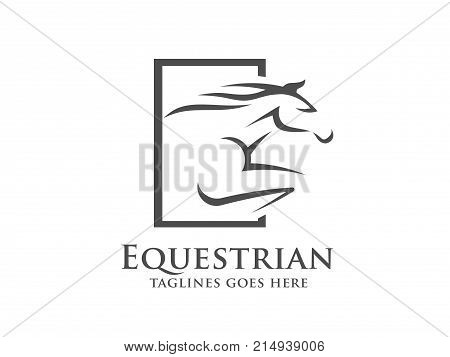 Horse racing logo template. Vector racer or rearing mustang and running stallion head for equine sport races or rides and equestrian contest poster