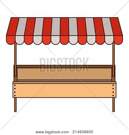 supermarket shelf with big storage of one level and sunshade in colorful silhouette with thin black contour vector illustration