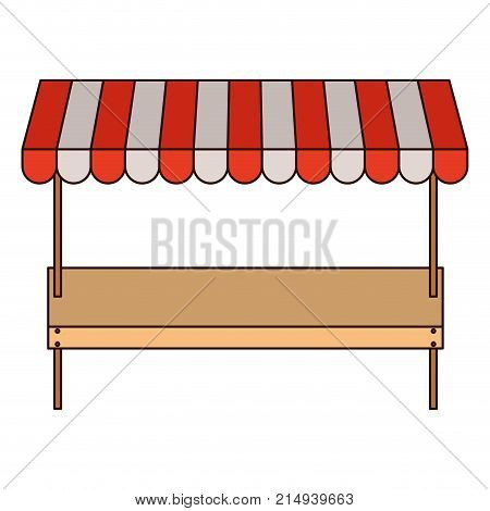supermarket shelf of one level and sunshade in colorful silhouette with thin black contour vector illustration