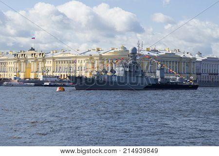 SAINT PETERSBURG, RUSSIA - JULY 25, 2015: Anti-submarine ship
