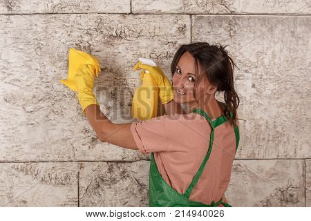 Concept Of Cleaning Of Premise. Woman Clean A Room.
