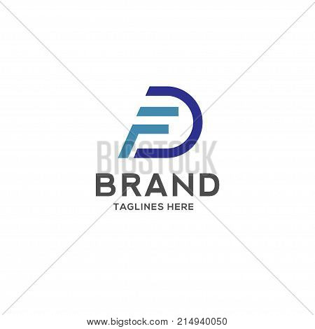 FD letter logo design vector illustration template, F letter logo vector, letter F and D logo vector, creative Letter FD letter logo