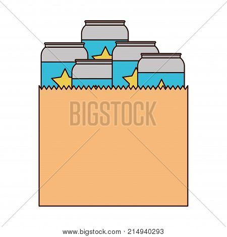 paper bag with canned beers in colorful silhouette with thin black contour vector illustration