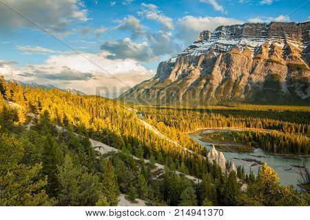 Mount Rundle and the hoodoos in Banff National Park, Alberta, Canada