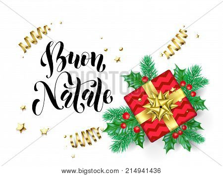 Buon Natale Merry Christmas Italian Holiday Hand Drawn Quote Calligraphy Greeting Card Background Te