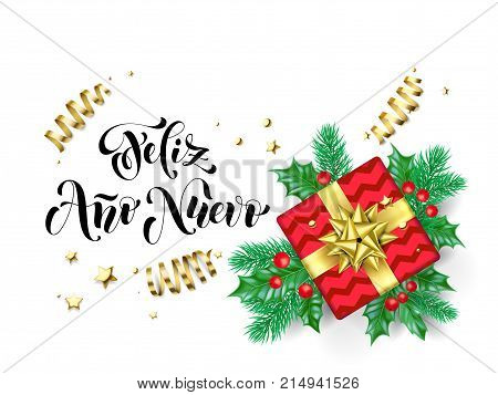 Feliz Ano Nuevo Spanish Happy New Year Calligraphy Hand Drawn Text For Greeting Card Background Temp