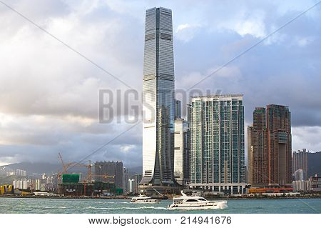 Hong Kong S.A.R.China - September 24 2017: ICC - International Commerce Center the world's fifth tallest building in Kowloon Hong Kong at sunset and reflex .The 100th floor called Sky100 which opened to the public in April 2011