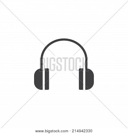 Headphones icon vector, filled flat sign, solid pictogram isolated on white. Listen to music symbol, logo illustration.