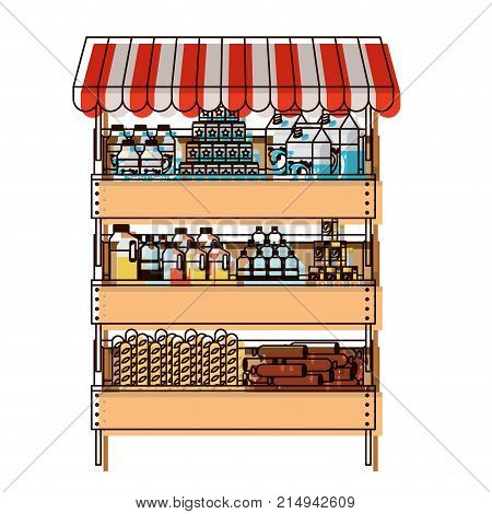 supermarket shelf with sunshade colorful in watercolor silhouette vector illustration