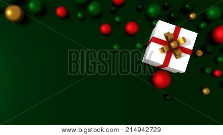 3d white gift box  tied with a red satin ribbon bow. and color balls on green background.for Christmas and new year