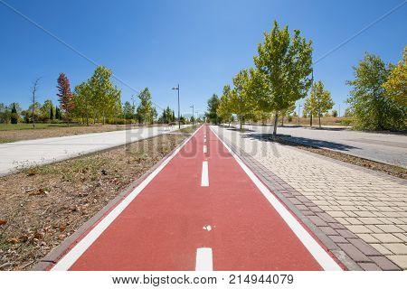 Bike Lane In Wide Sidewalk Of Urban Street