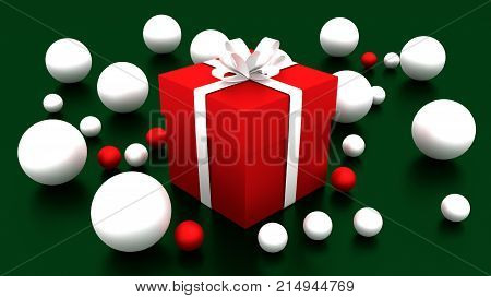 3d red gift box  tied with a white satin ribbon bow. and white balls on green background.for Christmas and new year