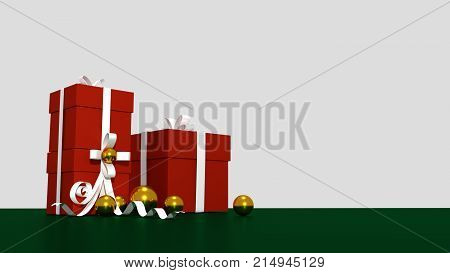 3d RED gift box  tied with a WHITE satin ribbon bow. and golden balls on green background.for Christmas and HAPPY new year.