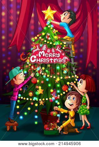 Kids decorating pine tree for Merry Christmas holiday. Vector illustration