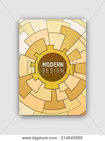 Modern design cover presenting yellow and brown circular mosaic, circle and white title in it in centerpiece on vector illustration