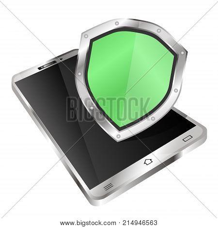 Antivirus shield in smartphone vector technology v