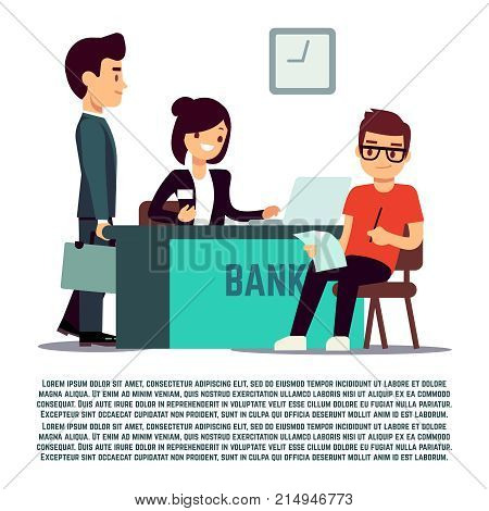 Man in bank flat illustration - vector banking service. Business finance service
