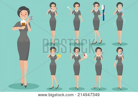 cartoon business woman with sensitive tooth on the green background