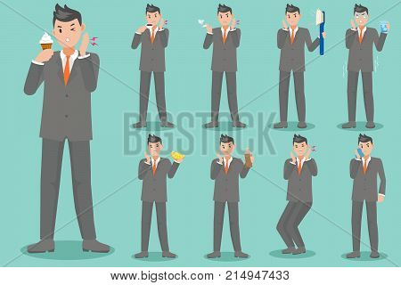 cartoon business man with sensitive tooth on the green background
