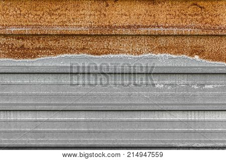 Rusted galvanized iron wall. Vintage metal background.