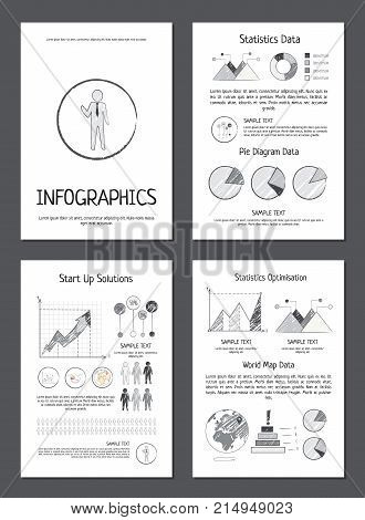 Infographics with statistics and world map data, startup solutions and optimisation on paper sheets monochrome vector illustrations set.