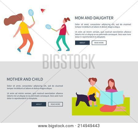 Mom and daughter, mother with child vector web posters with parent playing badminton with kid and sitting on blanket with pet banners with text