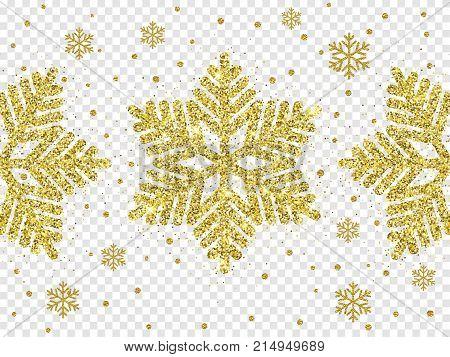 Christmas Golden Snowflake Glitter Pattern White Background Vector Gold Shine Sparkle Snow Decoratio