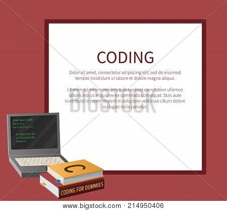 Coding banner with portable computer and thick textbooks for informatics studies vector illustration with place for text. Open laptop with program code on screen. poster