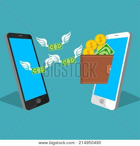vector digital mobile wallet vector concept . smartphone screen with wallet , coins and banknotes. Internet banking or wireless money transfer concept. Money flying from one phone to another