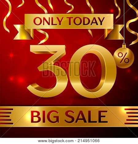Realistic banner Merry Christmas with text Big Sale only today thirty percent for discount on red background. Confetti, christmas ball and gold ribbon. Vector Illustration