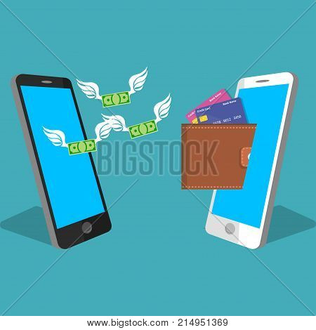 vector digital mobile wallet vector concept . smartphone screen with wallet and credit cards. Internet banking or wireless money transfer concept. Money flying from one phone to another