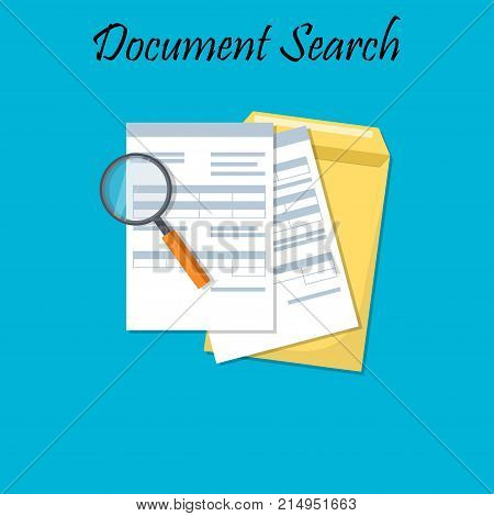 Cartoon design illustration for business documents with magnifier, business report or agreement. Documents envelope. pofile or tax form. Search design