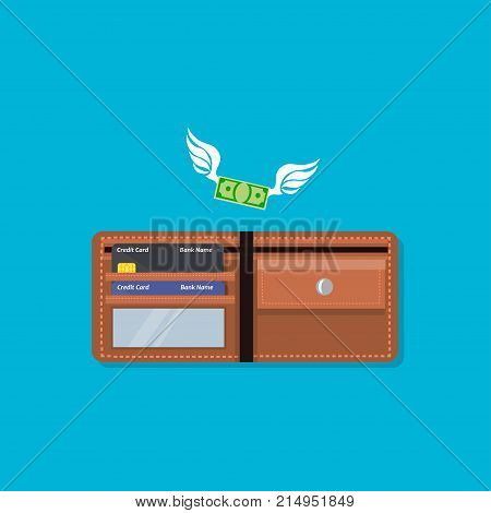 Wallet with money and credit card, Open wallet with credit cards. Money with wings. Design for refund cashback or shopping. Money flying in or out of the wallet