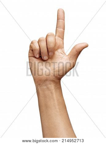 Man's hand showing two fingers isolated on white background. Sign - number two. Close up. High resolution product