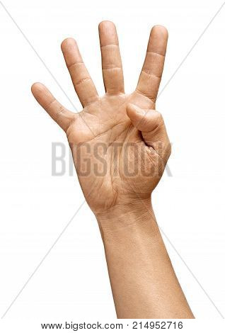 Man's hand showing four fingers isolated on white background. Sign - number four. Close up. High resolution product
