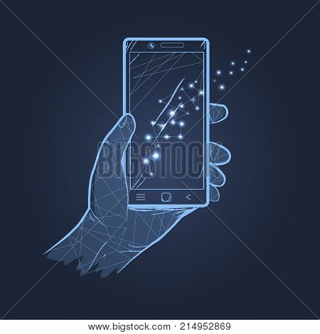 Hand holding smartphone with lights reflecting on screen. Vector illustration of icon with devise isolated on dark blue background