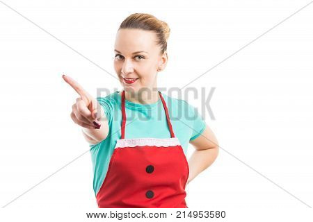 Smiling Housewife Or Maid Showing Refusal No Gesture