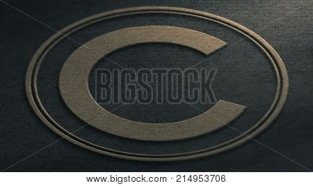 3D illustration of a copyright symbol emboss on paper. Intellectual property Concept