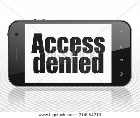 Protection concept: Smartphone with black text Access Denied on display, 3D rendering