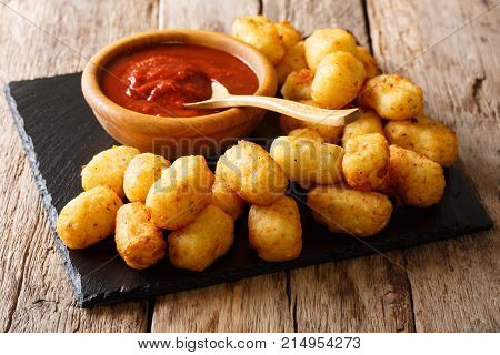 Organic Fried Tater Tots Made From Fried Potato And Ketchup Close-up. Horizontal