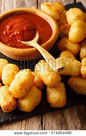 Fried Tater Tots With Tomato Sauce Close Up. Vertical