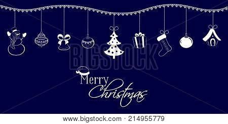 Christmas Pendants On A Dark Blue Background. Snowman, Bell, Ball, Tree, Gift, Sock, Fairy Tale Hous
