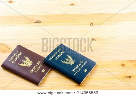 Passport from Thailand on the floor background