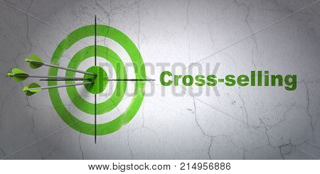 Success finance concept: arrows hitting the center of target, Green Cross-Selling on wall background, 3D rendering