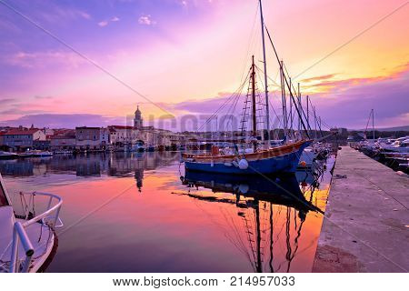 Historic Island Town Of Krk Dawn Waterfront View